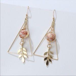 Marble and leaf long dangling earrings
